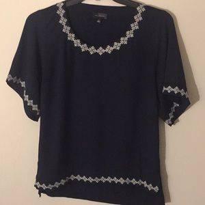 The Limited Navy Top with White Trim - Size Small